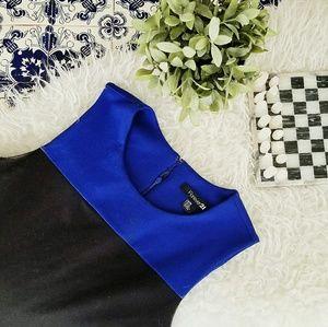 FOREVER21 blue and black color block dress